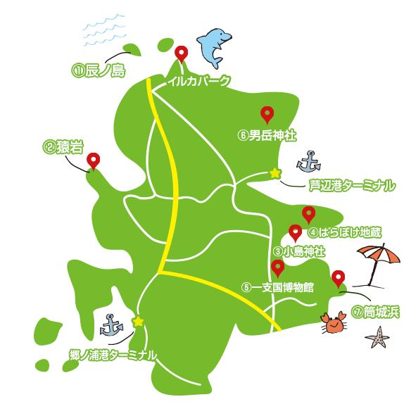 壱岐 観光スポット 地図