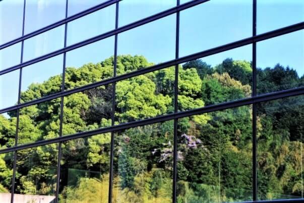 九州国立博物館 鏡張り 壁 新緑